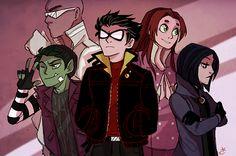 teen titans original raven and beast boy Teen Titans Raven, Teen Titans Go, Teen Titans Fanart, Beast Boy, Robin Starfire, Young Justice, Chat Origami, Dc Comics, Original Teen Titans