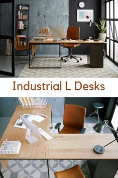 Industrial L desks with desk, return, & matching office file cabinet.  Wood and Metal to work with a modern industrial style.