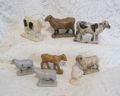 8 Vtg Hard Rubber Animals ~ Auburn USA Farm Barnyard Toy ~ Holstein Cows Sheep Chicken ~ Vintage $15.00