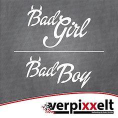 """Aufkleber """"Bad Girl"""" oder """"Bad Boy"""" Sticker Decal JDM OEM"""