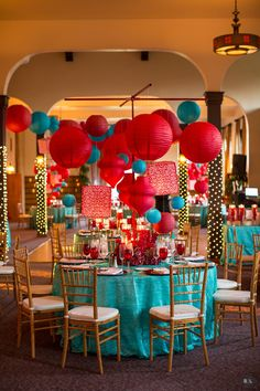 Red & Aqua wedding tables with lanterns and flowers.