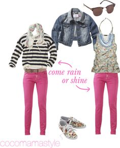 School run style. 1 pair of pink jeans. 2 ways. cocomamastyle.com