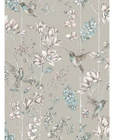 This stunning Hummingbird Wallpaper features a detailed collection of hummingbirds and flowers in beautiful muted pink and blue tones, set on a soft gold background that is infused with a subtle metallic sheen. Comes in four colour ways.