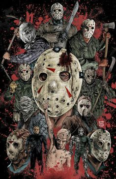 All 13 looks of Jason Voorhees---commissioned piece JASON 13 Horror Movie Posters, Horror Movie Characters, Horror Icons, Horror Movies, Jason Voorhees, Arte Horror, Horror Artwork, Slasher Movies, Arte Obscura
