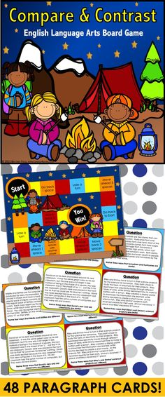 Compare and Contrast: Compare and Contrast game contains 48 game cards and a game board to help students practice comparing and contrasting information found in text. This compare and contrast game works great as a pair/group activity, or for use in literacy centers.