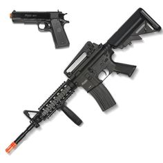 Two-Tone Tan /& Black NEW Colt Spring RIS Airsoft Gun Rifle and Pistol Combo Kit