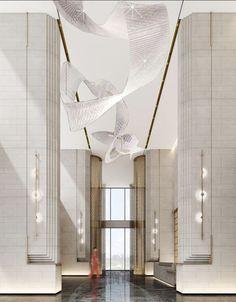 Wall Cladding Designs, Hotel Lobby Design, Lift Design, Column Design, Lobby Interior, Home Remodeling Diy, Hall Design, Restaurants, Modern Interior Design