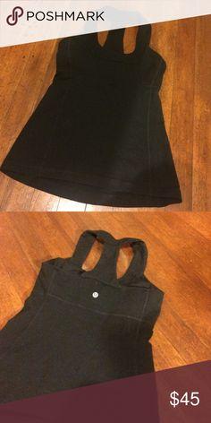 Lululemon black tank Size 6. Gently worn. Shelf bra inside. lululemon athletica Tops Tank Tops