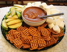 Nutella and cream cheese dip, party platter! Creative and yummy :)