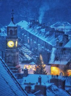 Langhold Town Hall during a snowfall, Scotland