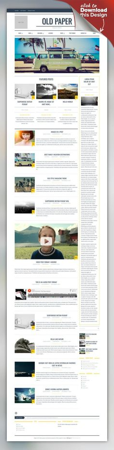 OldPaper - Ultimate Magazine & Blog Theme animate css, blog, clean, editor style, magazine theme, modern, news, newspaper, old blog style, old paper, oldpaper OldPaper is a REVOLUTIONARY Magazine Design Concept for any kind of creative or business use. Built upon the responsive Twitter Bootstrap framework, the theme is highly optimized for both mobile and desktop platforms. Animate CSS give awesome look-and-feel loading and page scrolling eff...