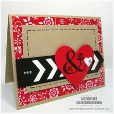 handmade Valentine card fromTwo Happy Stampers ...t rendy chevron die cuts and ampersand stamp ... like how the graphic part is on top and the faux stitching and patterned paper on bottom panels ... fabulous card!! ... Stampin' Up!