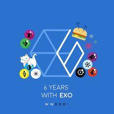 ExoLs' anniversary Logo These are so cute dkeksjdjdkd Kaisoo, Exo Chanyeol, Chanbaek, Kyungsoo, Kpop Exo, 5 Years With Exo, 6 Years, Exo Cartoon, Exo 12