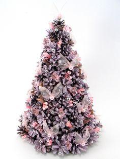 Choinka z szyszek jasnoróżowa - Zielonepalce - Dekoracje bożonarodzeniowe