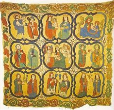 Altar Frontal from Draflastadir Church in laid and  couched work, wool on linen, 16th Century