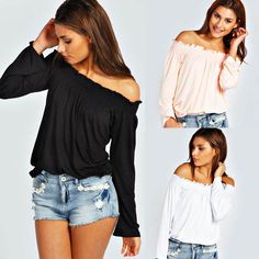 Fashion Women's Cotton Blouse Off Shoulder Long Sleeve Casual Ladies Shirt Tops