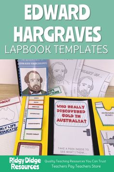 Studying Famous Australians can be fun and engaging! With these lapbook activities that perfectly complement the Australian Year 5 HASS curriculum, your students will explore the controversial character that was Edward Hargraves, expanding their knowledge of Australian Gold Rush history and giving them the opportunity to practise persuasive writing skills. Lap Book Templates, Diary Template, History Education, Persuasive Writing, Australian Curriculum, Gold Rush, Writing Skills, Cover Pages, Teacher Pay Teachers