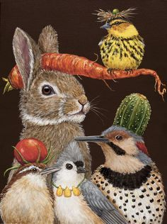 """""""Harvest Party"""" painted canvas by Melissa Shirley Designs, Artwork by Vicki Sawyer Size: x Mesh Count: 18 Art And Illustration, Illustrations, Rabbit Art, Bunny Art, Whimsical Art, Whimsical Nursery, Animal Paintings, Bird Art, Pet Portraits"""