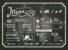 Restaurant Food Menu Design With Chalkboard Background Royalty ...