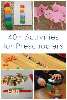 40+ Activities for Preschoolers - Tons of ideas for things that younger siblings can do during homeschooling.  Low mess ideas.