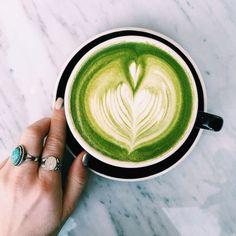 Green tea latte with latte art