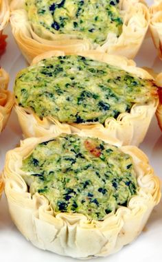 Spinach, Brie  Bacon Mini Quiche - Creamy Brie cheese is a great addition to this bite-sized party starter.