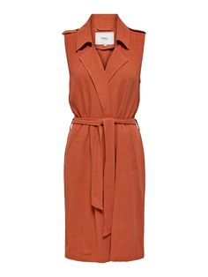 Long waistcoat | Tie belt at waist | Solid color | Length: 101 cm in size S | The model is wearing size S Models, Belt Tying, Flower Power, Espadrilles, Wrap Dress, Dresses For Work, Lifestyle, How To Wear, Shopping