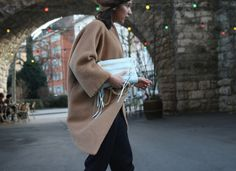 Oversized coat by Paula Immich, Rebecca Minkoff mini bag and Zara beanie/ Streetstyle Camel & blue shades
