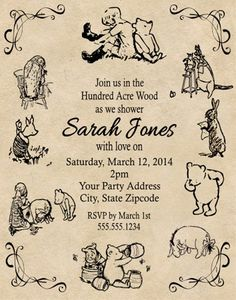 Personalized vintage Winnie the Pooh, Christopher Robin, Eeyore, Tiger, Kanga, Roo, Owl, Rabbit Baby Shower OR Birthday by DannisCuteCreations