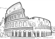 Doodle Art Drawing, Art Drawings Sketches, Pencil Drawings, Colour Architecture, Watercolor Architecture, Rome Painting, Outline Pictures, Symbolic Art, Outline Art
