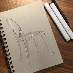 "Instagram @wrenchbone - ""10min Ghost chair. #nofilter #sketch #sketching #sketchaday #sketchbook #instasketch #artwork #draw #drawing #drawingclass #doodle #doodles #doodling #pencildrawing #pencils #copicmarkers #copic #copicmarker #design #idsketching #illustration #instaart #starck #philippestarck #ghost #ghostchair #kartell"""