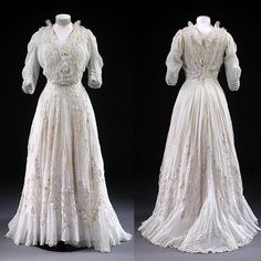 "Day dress, French, ca. 1904-1908 From the Victoria and Albert Museum: ""This style of delicate pale dress was very popular for wear at summer garden parties and fêtes. The Lady's Realm (1907) remarked: 'July is the ideal month in England where dress is concerned, and our thoughts turn to transparent lawns, ethereal muslins and dainty laces which are all associated with summer confections of London and Paris'. The skirt appears seamless but is made up of many almost invisible hand-stitched…"