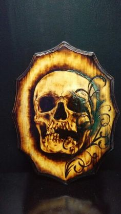 Skull woodburning by Mike Bonds