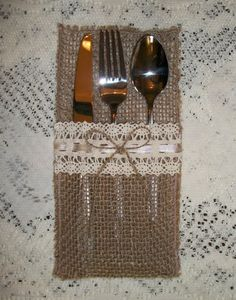 25 VINTAGE LACE BURLAP SILVERWARE HOLDERS - RUSTIC SHABBY CHIC WEDDING DECOR