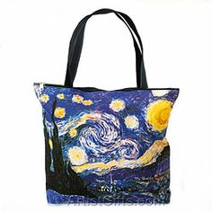 Starry Night Tote Bag with Zipper Top $29.95 and Free U.S. Shipping, buy now at http://www.artistgifts.com/tote-bags/van-gogh-starry-night-tote.html