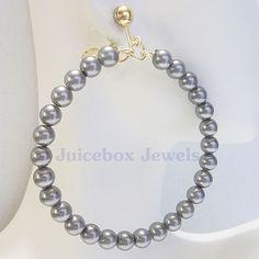 CLIP ON 2.5 inch GRAY Glass Pearl Faux Hoop Handmade Non-Pierced Earrings V79 #Handmade #Hoop