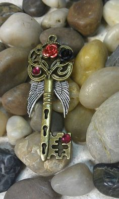 Dark Angel Fantasy Key Pendant by DarkWolfJewelry Under Lock And Key, Key Lock, Antique Keys, Vintage Keys, Witch Craft, Key Crafts, Key Jewelry, Jewellery, Old Keys