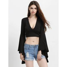 Choies Black Deep V Neck Flared Sleeve Tight Crop Top (26 AUD) ❤ liked on Polyvore featuring tops, black, crop top, low v neck top, bell sleeve crop tops, deep v neck crop top and bell sleeve tops