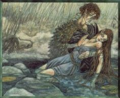 """Celtic (Irish)God of youth, love, and beauty. One of the Tuatha De Danaan, name means """"young son"""". He had a harp that made irresistible music, and his kisses turned into birds that carried messages of love. His brugh, underground fairy palace, was on the banks of the Boyne River."""