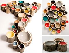eco-friendly designer wood bowls made out of logs. Naturally different sizes of logs gives different sizes to the bowls. Green, Colorful and useful.
