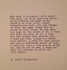 F. Scott Fitzgerald  Quote Made On Typewriter