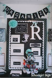 Schoolgirl Style:  Organize your classroom with an area designated for supplies, parent communication, notes, and all of the overwhelming paperwork that tends to accumulate on a teacher's desk. Used CTP's Lots of Dots Black Border