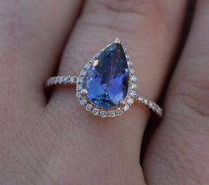 Etsy Tanzanite Ring. Rose Gold Engagement Ring Lavender Tanzanite pear cut engagement ring 14k rose gold #etsy #ad