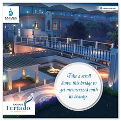 Take a stroll down this bridge to get mesmerized with its beauty.  #RajhansFeriado #ExclusiveSpanishWeekendVillas #RajhansDesaiJainGroup #Surat