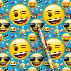 Emoji Gift Wrap - 5ft. Party Supplies Canada - Open A Party