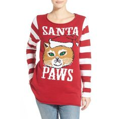 Junior Ugly Christmas Sweater 'Santa Paws' Sweater ($48) ❤ liked on Polyvore featuring tops, sweaters, cayenne, red top, stripe sweater, red christmas sweater, christmas sweater and intarsia sweater