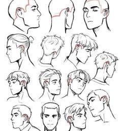 Drawing Male Hair, Short Hair Drawing, Guy Drawing, Character Drawing, Drawing People, Anime Hair Drawing, Hair Styles Drawing, Drawing Male Anatomy, Character Design