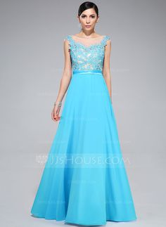 Prom Dresses - $129.99 - A-Line/Princess Scoop Neck Floor-Length Chiffon Tulle Charmeuse Prom Dress With Lace Beading (018046227) http://jjshouse.com/A-Line-Princess-Scoop-Neck-Floor-Length-Chiffon-Tulle-Charmeuse-Prom-Dress-With-Lace-Beading-018046227-g46227