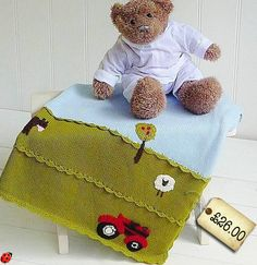 knitted childrens blanket tractor farm