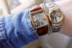 Har några gamla klockor liggande i lådor som jag aldrig använder. De passar ju perfekt som små fotoramar. Hittade några små svartvita foton på min pappa och min farbror från när de var små. Vackra minnen som nu ska bäras på min arm som smycken.